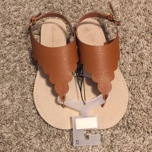 081a1e40855e LC Lauren Conrad Shoes - Cognac scalloped thong slingback sandals